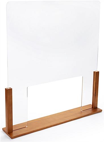 Upscale wood-framed sneeze guard with passthrough and 6mm thick clear acrylic panel