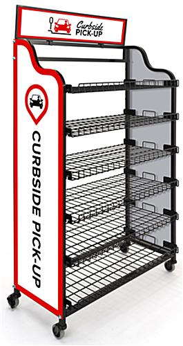 Curbside pickup wire shelf with flat leveled shelves