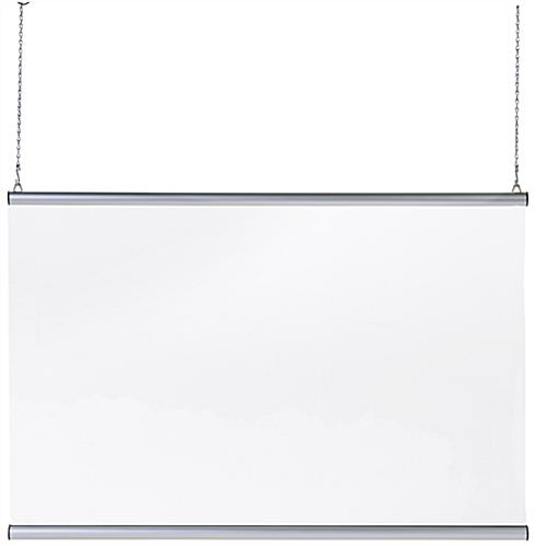 36x24 clear hanging protective sneeze guard comes with 2 high-grip aluminum snap rails