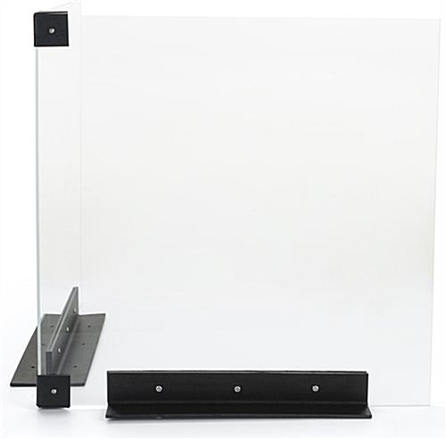 Corner countertop sneeze guard with surface mounted placement style