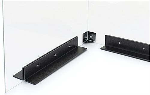 Corner countertop sneeze guard with black ABS hinges