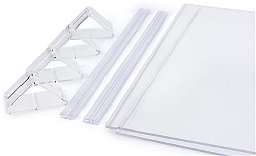 Modular plexiglass sneeze guards with four acrylic feet and two clear hinges