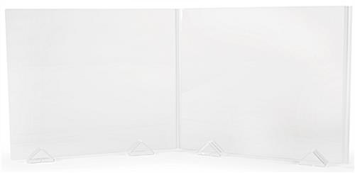 Expandable acrylic sneeze shield kit with 28 inch tall and 32 inch wide panels