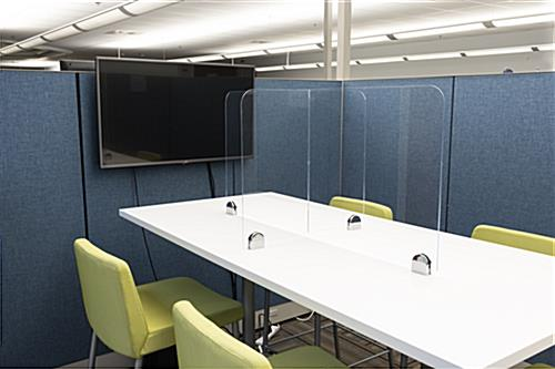 Sneeze shield table divider with table top placement style