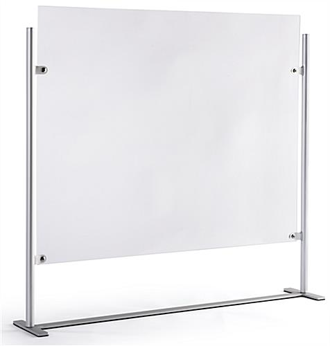 Countertop adjustable hygiene barrier with optional 31 inch wide by 6.5 inch tall transaction slot