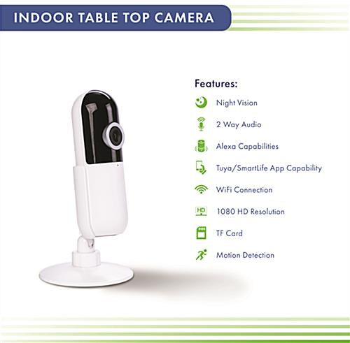 WiFi desktop surveillance camera with a wide range of features
