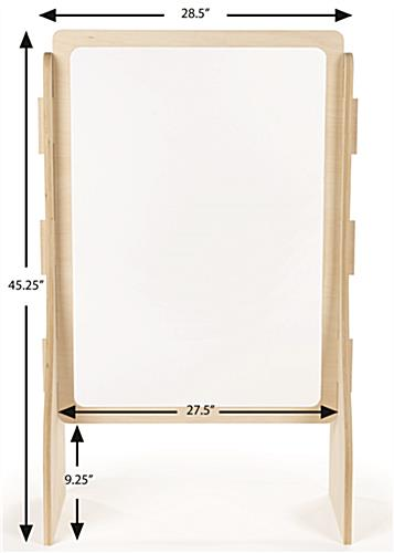 Upscale wood-framed sneeze guard with large scale transaction slot