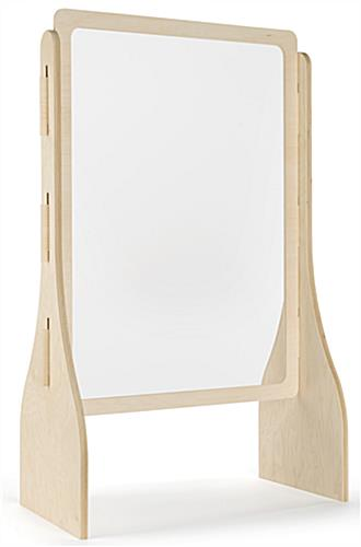 Upscale wood-framed sneeze guard with 0.5 inch thick maple