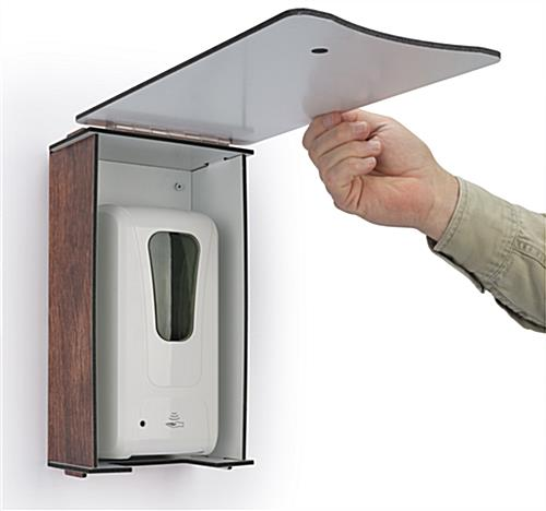 Decorative hand sanitizer dispenser with hinged cover