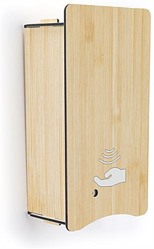 Wall mount sanitizer with dispenser cover with light faux-wood finish