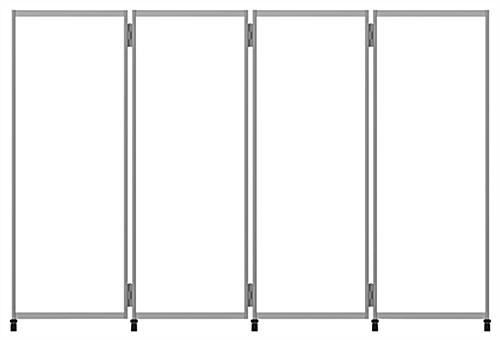 Clear mobile room divider with hinges to connect multiple units together