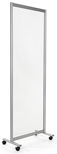 Clear mobile room divider with overall dimensions of 29.5 inches wide by 78.75 inches tall