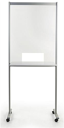 Portable acrylic sneeze guard with overall height of 78.75 inches tall