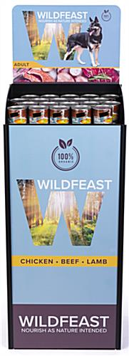 4-sided custom beverage display stand with personalized contour cut graphics