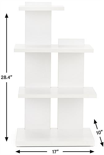Tiered retail shelving display with floor standing placement style