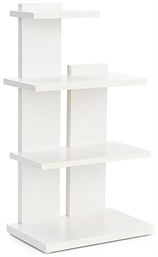 Tiered retail shelving display with three levels