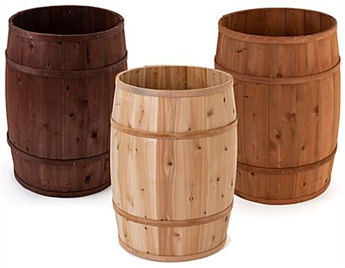 "Wooden display barrels with full 30"" deep design"