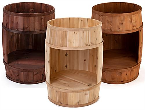 Bourbon barrel display case with three color options