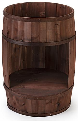 Bourbon barrel display case with 30.5 inch height
