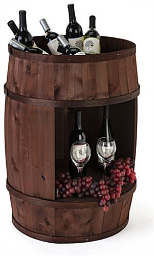 Bourbon barrel display case with large cutout in center