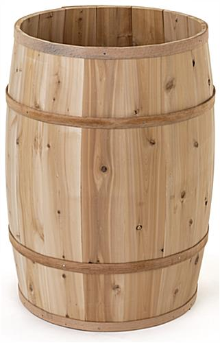 Wooden display barrel with overall height of 30.5 inches