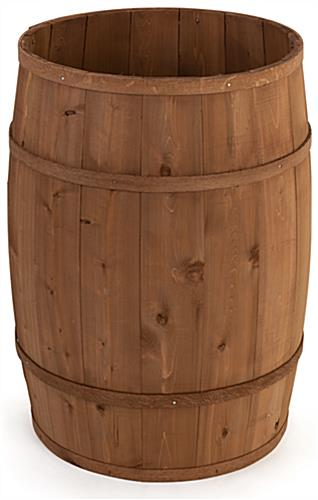Wooden display barrel with light brown stain