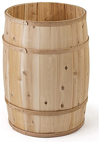 False bottom wooden display barrel with 30.5 inch overall height