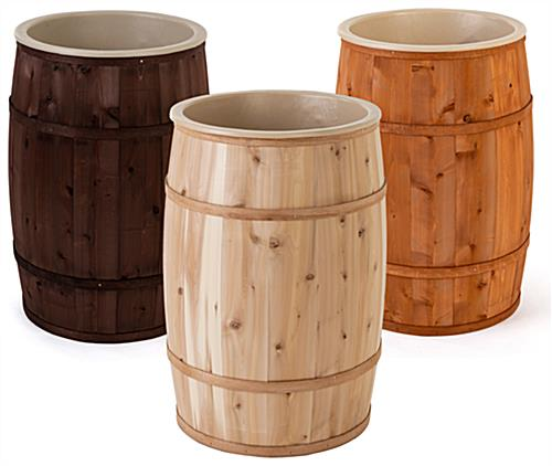 Food grade cedar barrels with a variety of finishes