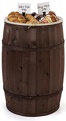 Food grade cedar barrel with 3.5 gallon plastic liner