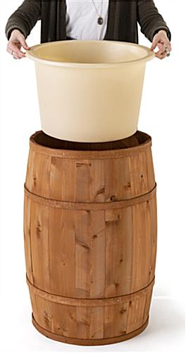 Food grade cedar barrel with removable plastic liner for easy cleaning