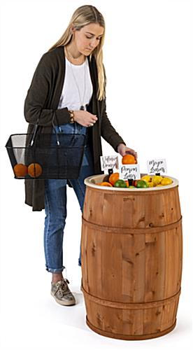 Food grade cedar barrel with 31 inch overall height