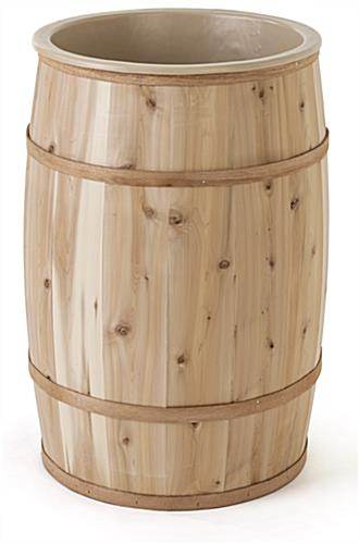 Food grade cedar barrel with durable liner