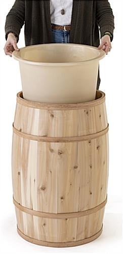 Food grade cedar barrel with removable plastic liner