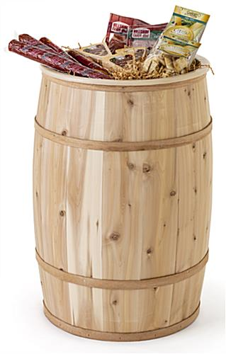 Food grade cedar barrel with 3.5 gallon holding capacity