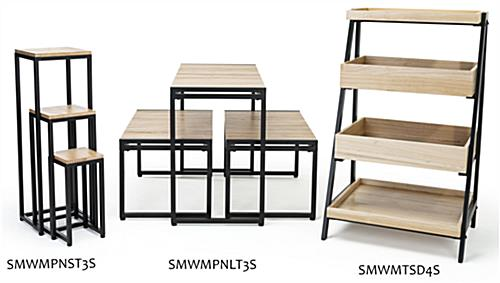 Wooden tiered display shelving with coordinating pieces