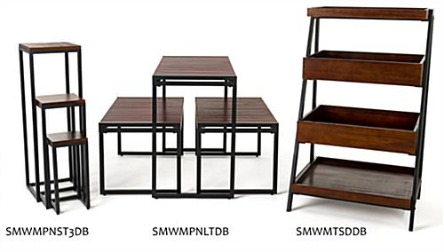 Rustic wooden dump merchandising shelves includes multiple pieces within the collection