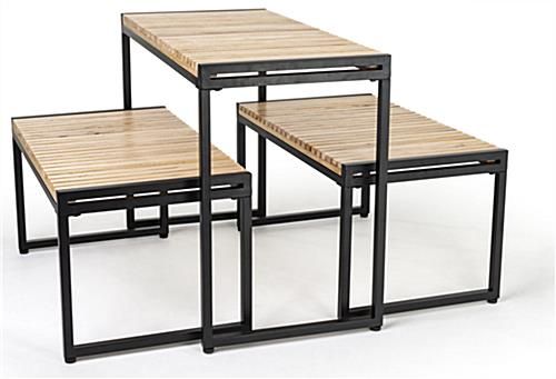 Large nesting tables with natural wood finish
