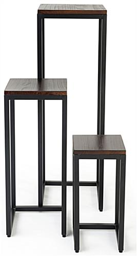 Rustic wood nesting tables with sturdy wood and metal construction