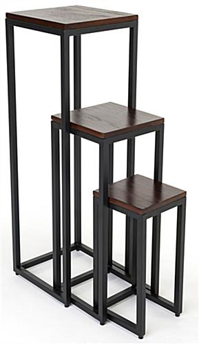 Rustic wood nesting tables with dark brown finish