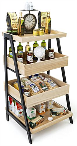 Wooden tiered display shelving has sturdy wood and metal construction
