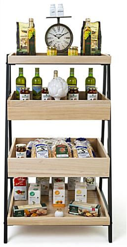Wooden tiered display shelving with item protection lips