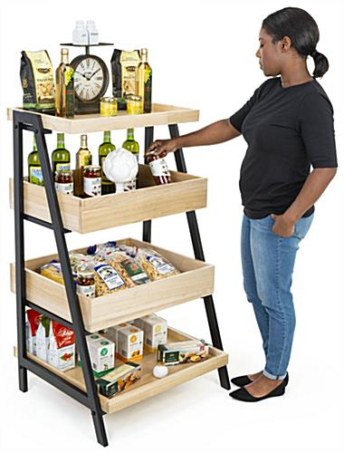 Wooden tiered display shelving has easy assembly