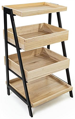 Wooden tiered display shelving with natural wood finish