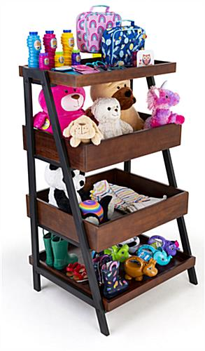 Rustic wooden dump merchandising shelves has a sturdy wood and metal construction