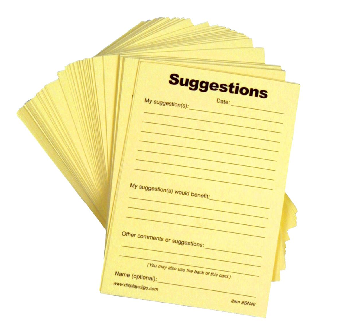 Displays2go Suggestion Form Pad, (100) 4 x 6 Sheets - Yellow