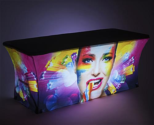 Backlit glow effect on 6' Custom stretch LED table scrim replacement cover
