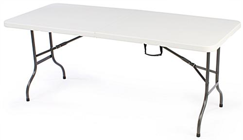 6 Foot backlit custom scrim cover and table set with white tabletop