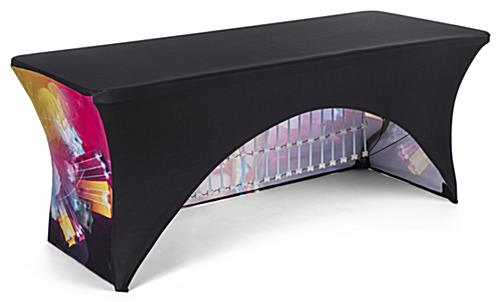 8' event table package with custom spandex cover and LED light kit with open back design