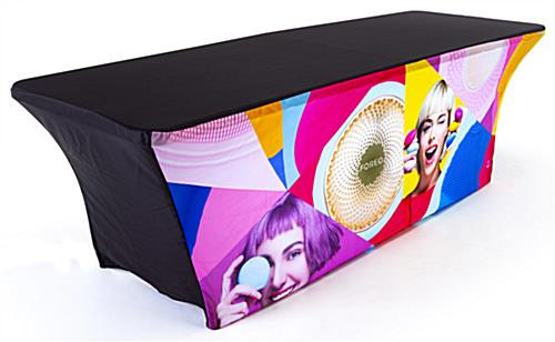 8ft custom stretch LED table cover replacement graphic with black top and back