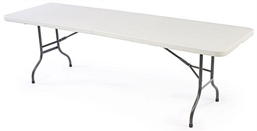 Sturdy molded plastic 8' event table package with custom spandex cover and LED light kit